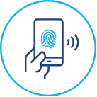 A blue icon of a mobile phone with a finger print on it.